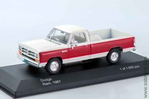 Dodge Ram, white/dark red 1987, 1:43 WB