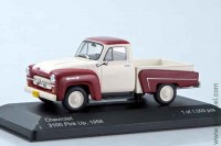 Chevrolet 3100 pick up 1958, white/durk red, WB 1:43